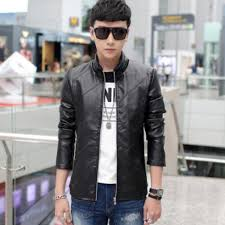 presyo ng autumn and winter men brushed and thick locomotive leather jacket coat korean style leisure warm coat stand collar slim fit jacket sa pilipinas