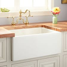 24 adams fireclay reversible farmhouse sink smooth a biscuit