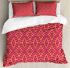 geometric duvet cover set modern art with ethnic elements harmony of past and future theme decorative bedding set with pillow shams orange marigold