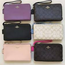 NEW Coach Double Zip LG Wallet Wristlet Phone Case F16109 F87587