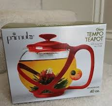 new primula tempo 40 oz glass teapot loose tea infuser red