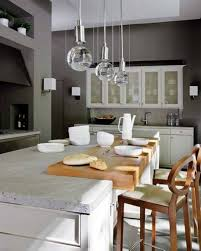 best idea of kitchen decoration with rectangle cabinet and glass hanging lights