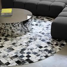 black and white round rug