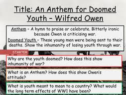 aqa unseen poetry wilfred owen an anthem for doomed youth by  an anthem for doomed youth wilfred owen