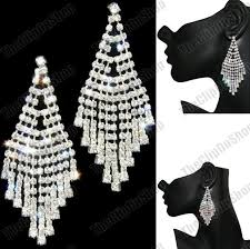 clip on pierced 3 long big crystal chandelier earrings glitzy silver rhinestone
