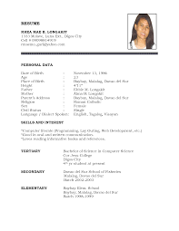 Sample Resume With Photo personal data in resume Besikeighty24co 1