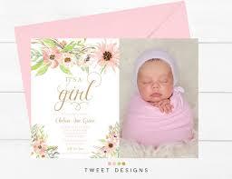 Baby Thankyou Watercolor Birth Announcement Girl Printable Baby Thankyou Card