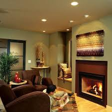 fireplace lighting. recessed lighting also like the fireplace i