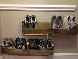 Furniture:High Wall Mounted Silver Stainless Shoe Racks Idea Diy Brown  Pallet Wood Floating Shoe