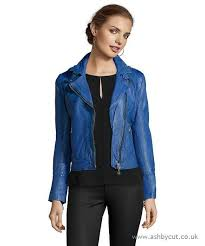 doma leather lamb leather moto jacket with contrasted black zipper tape electric blue p25op9n women s coats