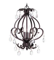 livex lighting iron and crystal 3 light mini chandelier in hand rubbed bronze with antique silver accents 8164 40