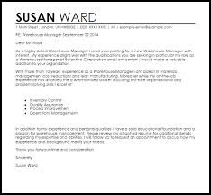 Warehouse Manager Cover Letter Sample Ideas Collection Warehouse
