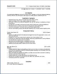 resume samples for waitress