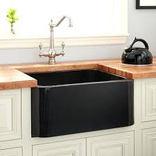 signature hardware single basin polished granite farmhouse sink black 24 inch fireclay