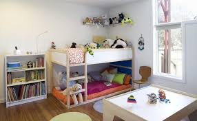 Delicate Interior Bedroom Using Simple Bunk Bed Beside Book Shelve