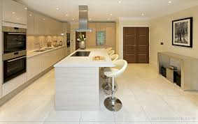 ivory porcelain floor tiles in a spacious modern and open plan kitchen area