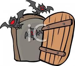 open doors clipart. Cartoon Of Vampire Bats Coming Out An Open Door - Royalty Free Clipart Picture Doors