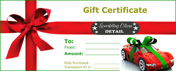 full detail gift certificate for a car or truck