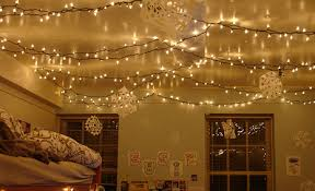 hanging fairy lights from ceiling