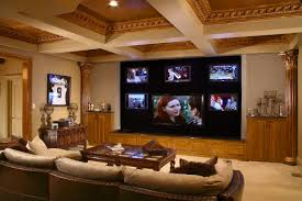 coffered ceilings and tv wall unit with sectional sofa also coffee table for basement family room decorating ideas
