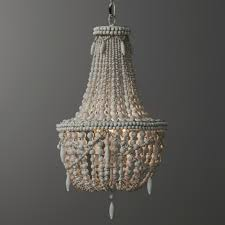classic style distressed wood beaded basket 3 light chandelier suspended lamp