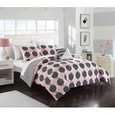 your zone gray blush polka dot bed in