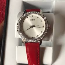 find many great new used options and get the best deals for guess women s logo red patent leather strap watch u1206l2 new in box at the best