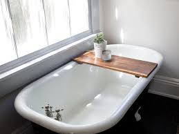 image of beauty wooden bathtub caddy