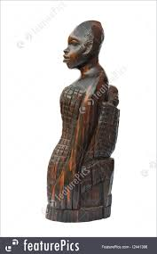 sculptures wooden carved african woman with child isolated on white background with clipping path