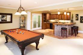 ... Small Bar With Game Corner In Basement Billiard Table Yard Beautiful  Pendant Lamps Three Barstools No Bar Ideas ...