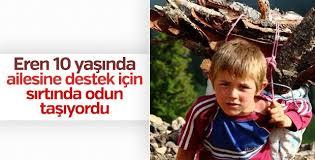 Eren Bülbül'ün 10 yaşında odun taşırken çekilen fotoğrafı
