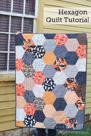 Large Hexagon Quilt Tutorial - The Polka Dot Chair Blog | Hexagon ... & A free quilting pattern for a large hexagon halloween quilt. A cheater way  to make Adamdwight.com