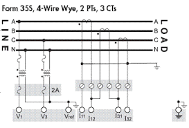 explanation of voltage and current input wiring diagram for explanation of voltage and current input wiring diagram for ion8650 8600 form 35 and 35s 4 wire wye 2 pts 3 cts