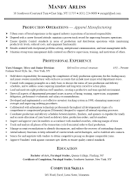 Apparel Of Ensure Quality Control With Manufacturing Resume