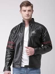 men s black stylish pu leather jacket