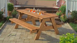 diy outdoor wooden picnic table with cooler and benches in the patio ideas