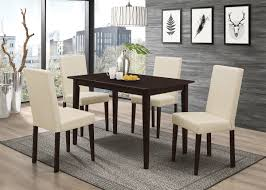 Rios Dining Collection With Espresso Finish Table And Cream Color