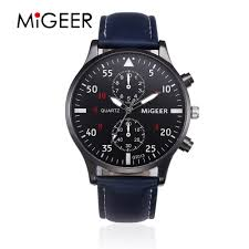 MIGEER 2019 Fashion Casual <b>Mens Watches</b> Luxury <b>Leather</b> ...