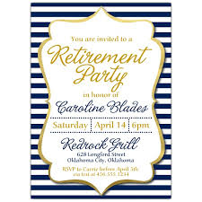 Navy Stripes Retirement Party Invitations Paperstyle