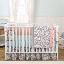 balboa baby 4 piece baby girl crib bedding set grey and c fl designs on 100 cotton grey and aqua dahlia com