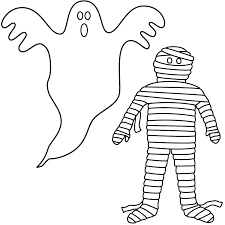 Small Picture Ghost with mummy Coloring Page Halloween