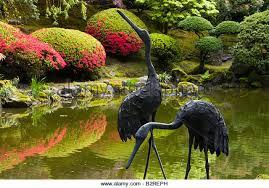 garden cranes. Garden, Japanese Portland, OR, Oregon, U.S. United States, Portland Garden Cranes W
