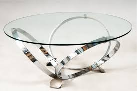glass top coffee table with shiny metal circle legs image and description