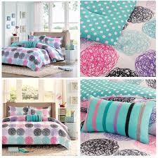 hot pink blue black circles girls bedding modern geometric comforter or quilt set twin xl full queen