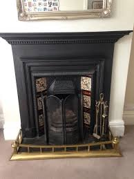 victorian cast iron fireplace grate surround and brass fender open to offers