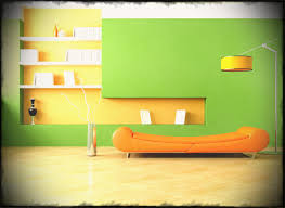 house design inspire home interior with green wall paint onbine orange painted for