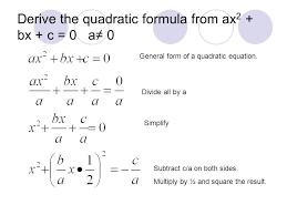 derive the quadratic formula from ax2 bx c 0 a 0