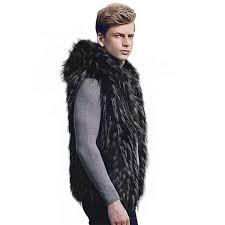 ซ อท ไหน 2019 new winter black vest warm luxury fur vest for men faux fur coat vests men s coats jacket high quality furry vest coat