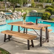 Outdoor Puerto Acacia Wood 3 piece Picnic Dining Set by