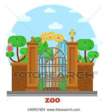 zoo entrance clip art. Delighful Entrance Clipart  Zoo Entrance With Waterfall And Parrots On Tree Fotosearch  Search Clip Art For Entrance R